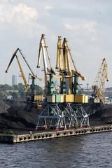 Cranes in port.