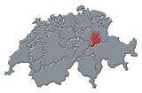 Mapa Švýcarsko, Glarus zvýrazněny