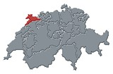 Mapa Švýcarsko, Jura zvýrazněny