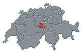 Mapa Švýcarsko, Obwalden zvýrazněny