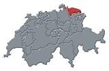 Mapa Švýcarsko, Thurgau zvýrazněny