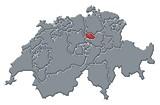 Mapa Švýcarsko, vlak zvýrazněny