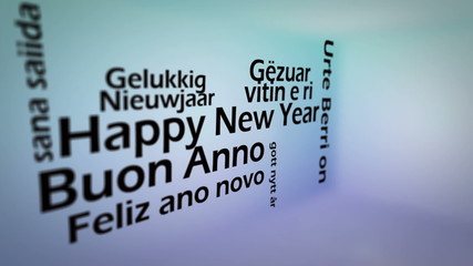 Happy new year in several languages animation