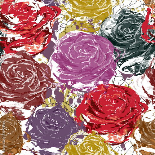 Beautiful art seamless roses Vector abstract illustration