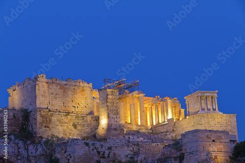 night view of parthenon and acropolis Athens Greece