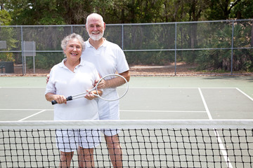 Active Seniors on Tennis Court