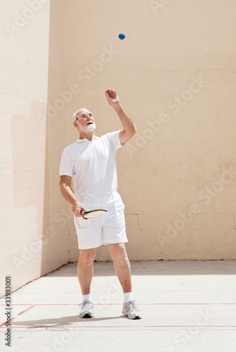 Senior Man Plays Racquetball