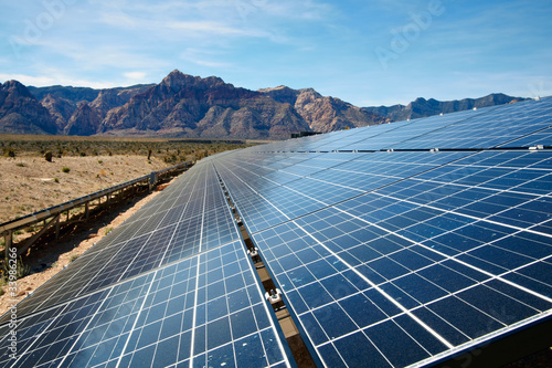 canvas print picture Solar panels in the Mojave Desert.