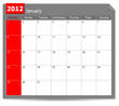 calendar of January 2012 isolated on white background