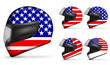 set of usa motorcycle helmet isolated on white background