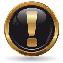 Ausrufezeichen - Button gold