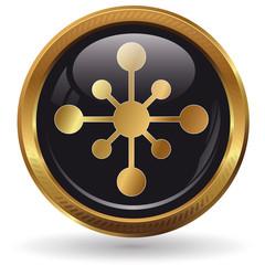 Netzwerk - Button gold