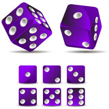 set of purple dices isolated on white background
