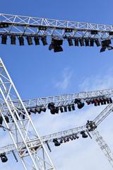 Scène, projecteurs, régie, lumière, spectacle, show, rampe