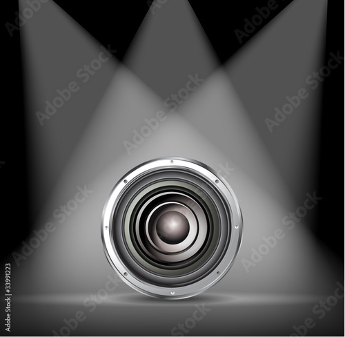 quality speaker on spotlight background