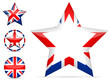 set of uk star icon isolated on white background