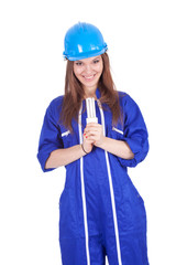woman worker in coveralls with energy-saving lamp