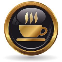 Kaffee - Button gold