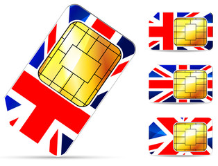 uk sim card isolated on white background