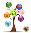 Illustration with tree and the main business icons