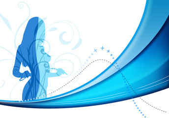 blue woman background
