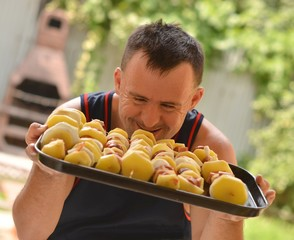down syndrome man with barbecue
