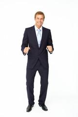 Happy, triumphant businessman