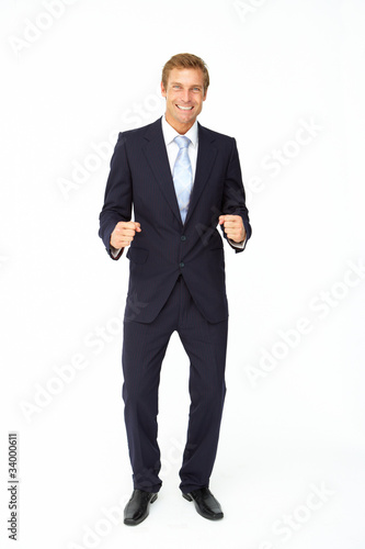 Happy, triumphant businessman
