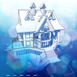architecture design: house, plans & blue bokeh background