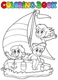Coloring book with yacht and kids - 34001227