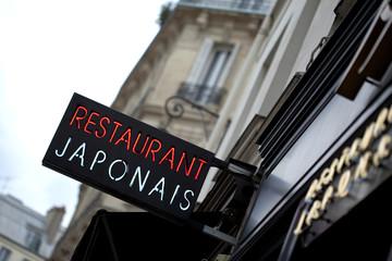Restaurant, japonais, enseigne, commerce, Paris, repas