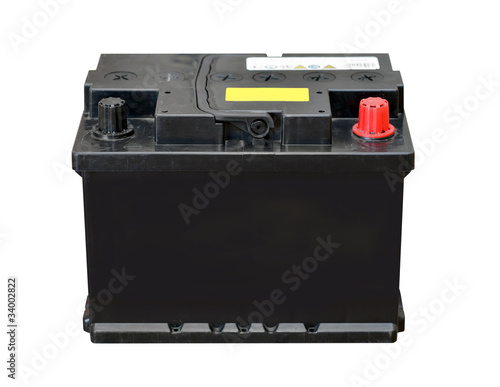 Leinwanddruck Bild Car battery isolated on white background