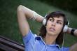 Fille, femme, belle, musique, audio, MP3, casque, détente