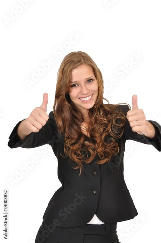 Geschäftsfrau im Anzug mit zwei Daumen hoch