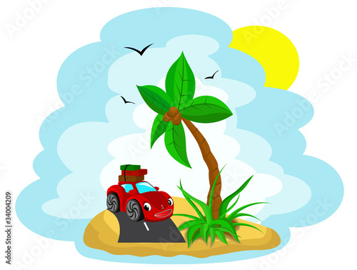The car with the luggage under a palm tree