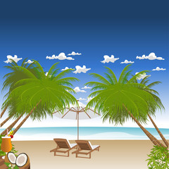 Two beach chairs on tropical white sand beach with palm trees.