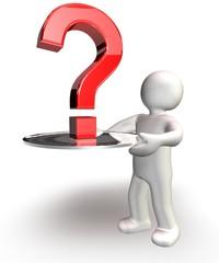 Fragezeichen auf dem Silbertablett