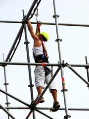 working man  assembler on a metal design
