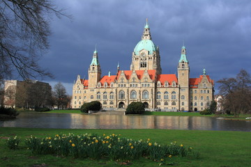Hannover new town hall after the rain storm, Germany
