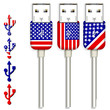 set of america usb isolated on white background