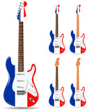 set of france electric guitars isolated on white background