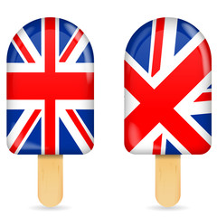 classic uk flag ice cream bar or ice pop isolated on white