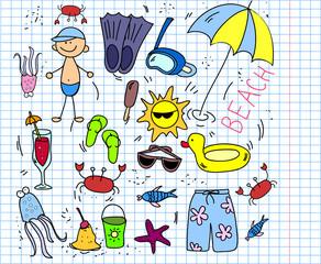 пляж набор иконок, детского рисунка