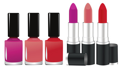 vector lipstick and nail polish
