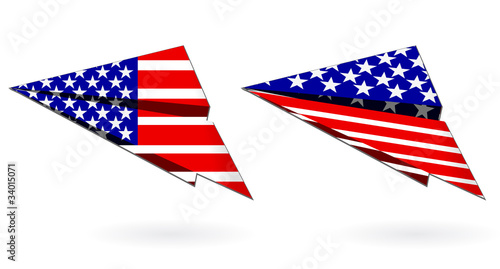 america paper planes isolated on white background