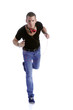 running young man with earphone