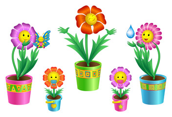 Set of cartoon flowers in pots