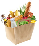 Fototapety Paper bag with food on a white background.