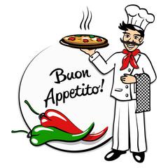 Pizzabäcker mit Peperoni *Buon Appetito*