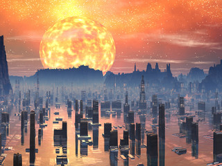 Flooded Future City with Red Giant Sun